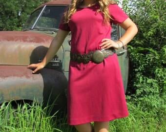 1960 Cranberry Short Sleeved Sheath Dress | Size L-XL | Retro Lightweight Knit
