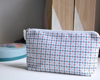 Pouch - Tiles, geometric - blue and Red