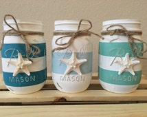 Set of 3 Painted Distressed Starfish Nautical Blue, Teal, and Mint Striped Mason Jars, Wedding Centerpiece, Beach House Vases, Party Décor