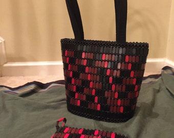 Burlap and wood handbag and matching purse