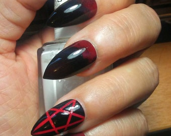 Stiletto Nails Black with Red Pentagrams * Gothic/Goth/Witch * Acrylic Press/Glue on False/Fake Nails * Coffin/Square/Oval/Matte/Long/Short