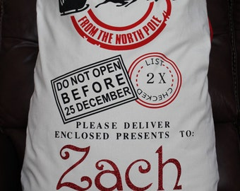 Personalized Santa Sack, Personalized Santa Bag, Personalized Santa Drawstring Bag, Santa Tote Bag, Santa Canvas Bag