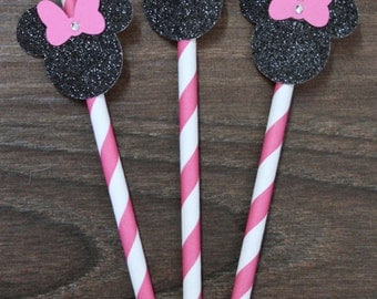 Minnie Mouse Party Straws - Hot Pink OR Red and White Stripes