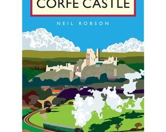 Corfe Castle Illustration - 40 x 30cm Art Print