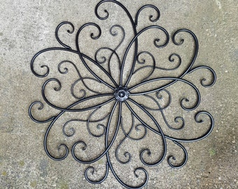 Large Metal Wall Art / Large Wrought Iron Wall Decor / Scrolled Metal Wall Decor / Metal Wall Decor / Metal Wall Art / Flower Wall Decor