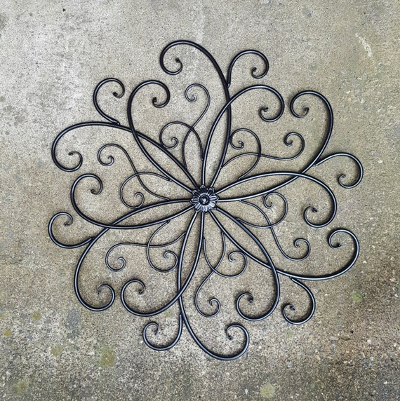 Large metal wall art large wrought iron wall decor for Decor mural metal
