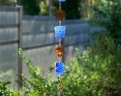 Wind Chime Blue Sea Glass Copper Windchime Stained Glass Suncatcher