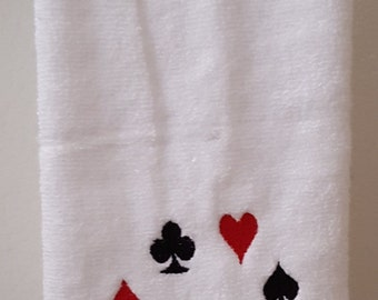 Magician hand towel, Poker hand towel, Magician's hat hand towel, Card out of a hat embroidered hand towel, Playing card hand towel