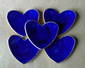 FIVE  Ceramic Heart ring bowls itty bittys Cobalt Blue edged in gold