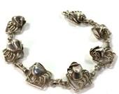 Hobe Sterling Silver Bracelet / Vintage 1940s Floral Link Bracelet / Roses / Signed