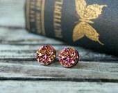 Rose Gold Druzy Earrings . Druzy Studs . Rose Gold Stud Earrings . Girlfriend Gift Best Friend Gift . Gift for Her . Valentines Day Gift