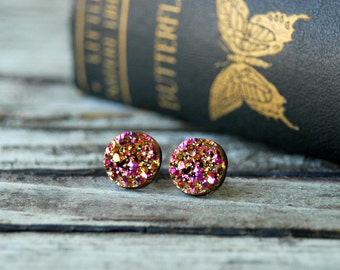 Rose Gold Druzy Earrings . Druzy Stud Earrings . Rose Gold Earrings . Girlfriend Gift Best Friend Gift . Surgical Steel Studs Druzy Jewelry