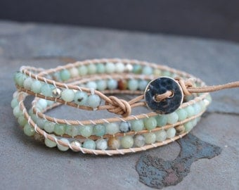 Triple Wrap Bracelet with Amazonite Beads Sterling Silver Button
