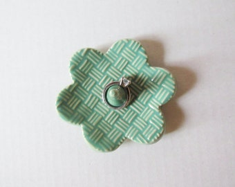 Basket weave textured Ring Holder - Green Mint Ring Dish - Raised basket weave texture Ring Bowl