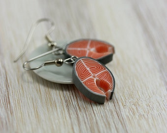 Salmon Steak Earrings