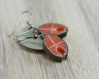 Salmon Steak Earrings