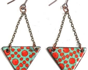 Red and Aqua Enamel Earrings