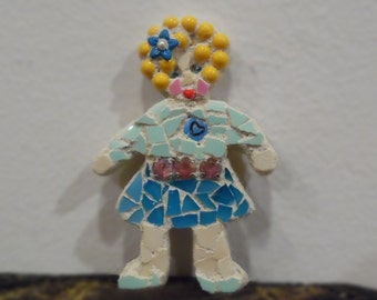 shabby chic mosaic minature doll 3 inches by 2 blonde hair blue dress zoey stained glass china collectible