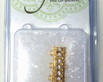 CLSP169GP 3 Strand Clasp Gold Plated with 7 crystals Elegant Elements