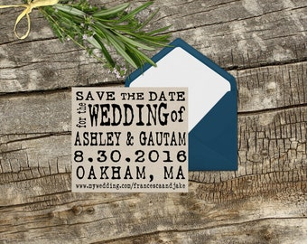 Large SAVE THE DATE custom rubber stamp typewriter antique font 3 x 3 --13033-CB27-000
