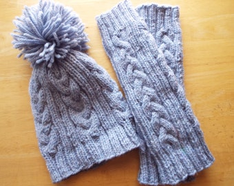 Belle Isle Hand knit Cable Hat and Leg Warmer Set