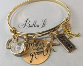 Wedding gifts for parents, wedding gifts for mother in law, Mother of the GROOM gift, GOLD bangle bracelet, CHARM bracelet, Initial jewelry