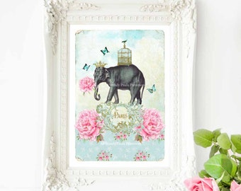Elephant print, French art print, quirky, cute, nursery decor in pink and blue, vintage home decor, A4 giclee