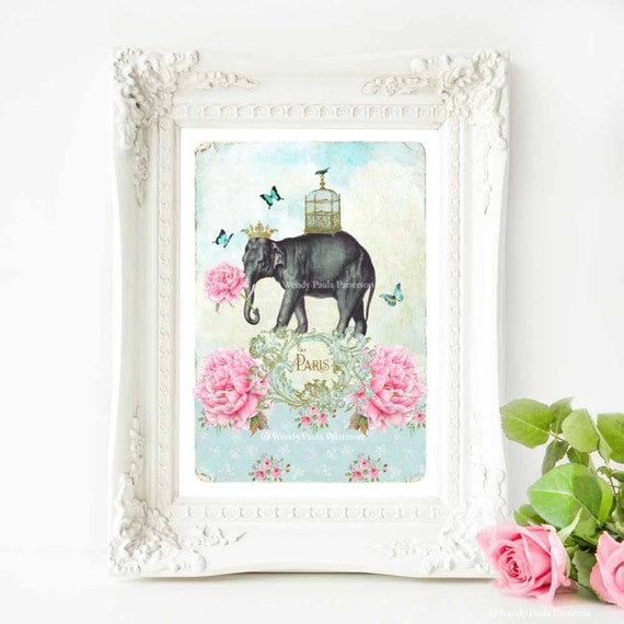 Elephant Print French Art Print Quirky Cute Nursery Decor