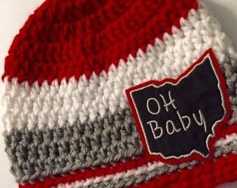 Baby // Crochet Hat // Ohio College // Team Color // Scarlet, Grey // Handmade // OH Baby