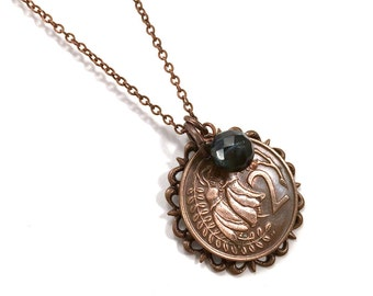 New Zealand coin necklace with kowhai flower blossom, filigree and pearl