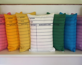 Library Card Pillows // Librarian // Reading // Book Lover // Library Science // Card Catolog // Bibliophile // Reader // Retro