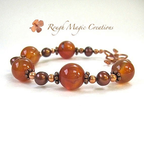 Orange Gemstone Bracelet. Carnelian Stones, Bronze Pearls, Copper. Boho Chic Renaissance Style. Chunky Bracelet. Bohemian Fashion Statement