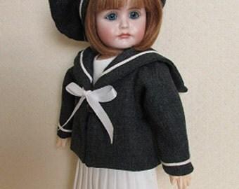 """For Bleuette, Sailor Suit """"Costume de quartier-maître"""" 1906 From LSDS - Fits Seeley Body"""