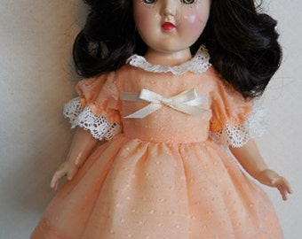"For 14"" P-90 Ideal Toni, Dress of Vintage Organdy in Light Orange. Also Fits Rosette, Bleuette Big Sister"