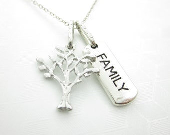 Family Tree Necklace, Tree Necklace, Family Word Necklace, Antique Silver, Tree Pendant, Affirmation Necklace X056