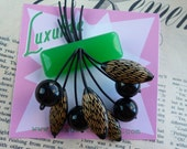 Mid Century Kelly Green, black and gold dream! 40s 50s bakelite fakelite style novelty atomic cherry vintage inspired brooch by Luxulite
