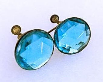 Vintage 1930s Faceted Blue Glass Earrings 30s Art Deco Blue Crystal Round Aquamarine Screw Back Cut Glass Earrings