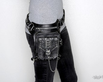 THE BLASTER 3.0 Black Leather Holster Hip and Shoulder Bag