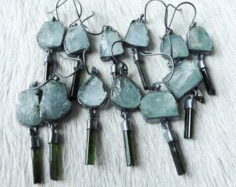 SALE Rough aquamarine earrings | Tourmaline crystal earrings | Multistone earrings | Aquamarine dangle earrings | Beijo Flor