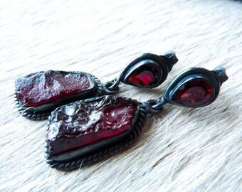 SEMI-ANNUAL SALE Raw garnet earrings | Dangle earrings | Garnet studs | Red stone earrings | Gypset | Rough garnet earrings | Birthstone ear