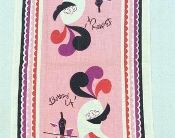 Vintage Towel Mid Century Bar Ostrich Bottoms Up Signed