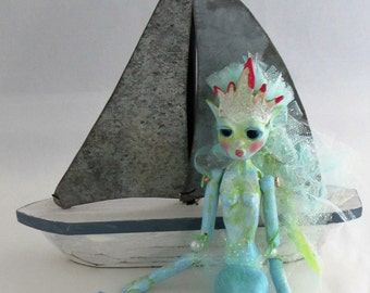 Coral Reef Mermaid Ornament, art doll handmade in the USA