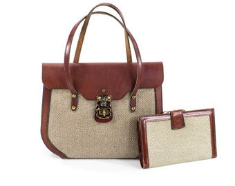 Etienne Aigner 1957 Round Bottom Linen Bag Vintage 1950s Burgundy Leather COLLECTOR'S Shoulder Bag With Matching Wallet