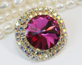 Fuchsia Pink Brooch Pin Swarovski Crystal AB 18mm Sparkly Fuchsia Hot Pink Pin Crystal Lapel pin Rhinestones Brooch, gold finish,Fuchsia,GA6