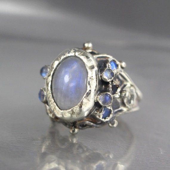 Rainbow Moonstone Ring Unique Engagement Ring Moonstone