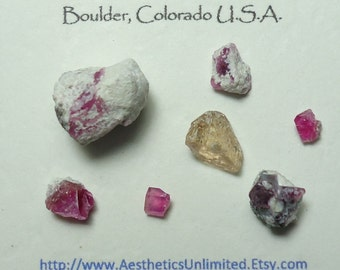 Sale 6 RED BERYL And 1 Topaz Small Bixbite In Matrix Crystal Mineral Specimens Sample Lot (Old Stock) From Utah USA