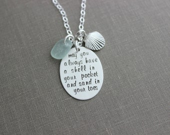 may you always have a shell in your pocket and sand in your toes, sterling silver beach necklace with genuine sea glass and seashell charm