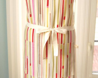 Multi-Stripe Apron in cotton twill with large front pocket