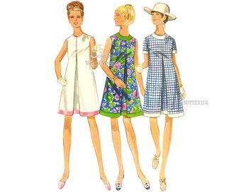 1960s Pleated Dress Pattern, Butterick 4857, Mod Sleeveless A line Dress with Jewel Neckline, Bust 36 Uncut