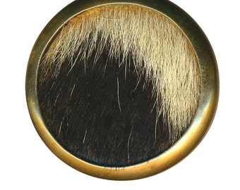 Button--Unusual Large Vintage Pony Hair in Brass